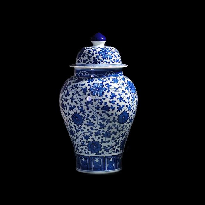 青花瓷将军罐陶瓷摆件客厅老仿古手绘景德镇陶瓷器花瓶家居装饰品