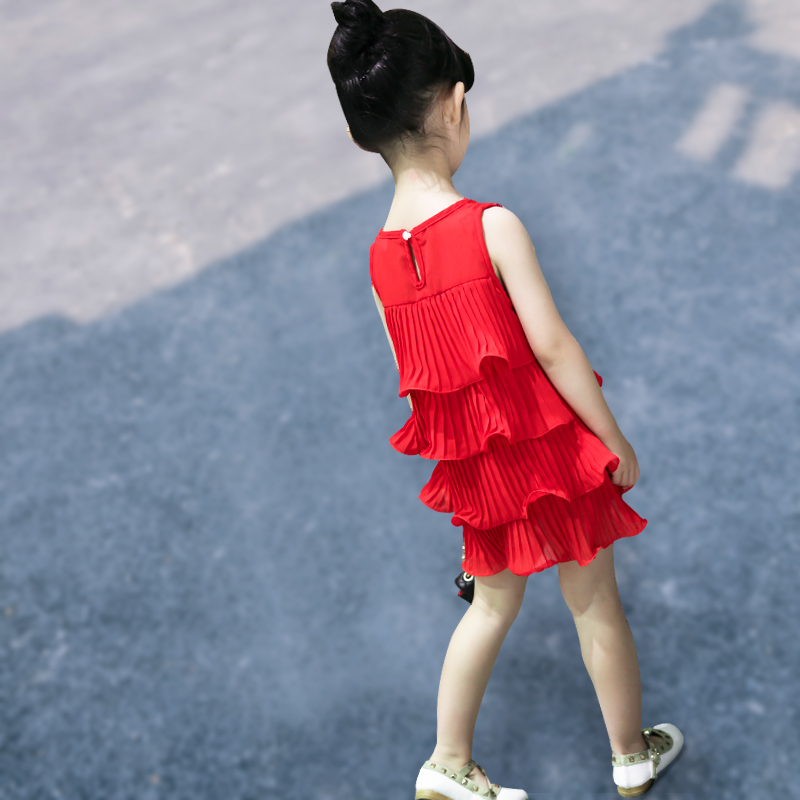 女童连衣裙夏装儿童的公主裙2018新款韩版雪纺宝宝裙子小女孩童装