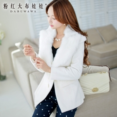 Coat women pink doll 2015 spring white long fur lapel suit wool coat