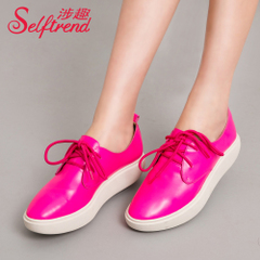 Fun fall involved new leather shoes fashion casual suede leather lacing flat heel platform shoes T01010