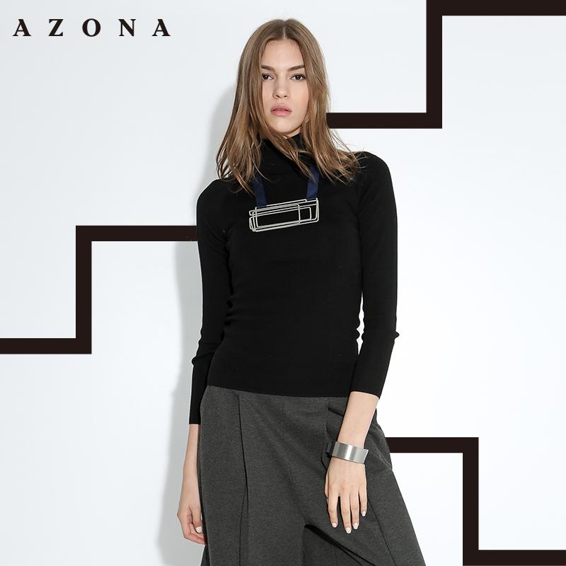 AZONA/阿桑娜欧美简约风显瘦修身素色高领毛衣 A1Q6C0321ST