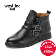 Westlink West meets new 2015 winter casual leather flat ankle boots with round head short boots women's shoes