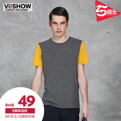 Viishow summer dresses men's fashion short sleeve cotton spliced spell color crewneck men's short sleeve t-shirt