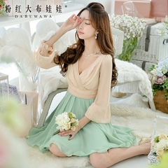 Long sleeve dress pink doll 2015 autumn new women's slim splice chiffon dress