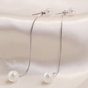 Korean version of the imitation Pearl tassel earrings ear studs long ear Wire Earrings fashion, Japan and South Korea simple temperament of students earrings