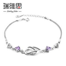 瑞维思心连心S925银紫水晶手链女款日韩甜美镶嵌锆石饰品女友礼物