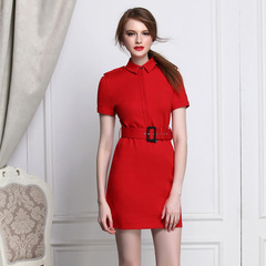 European socialite Chic Red high waist slim pencil skirts and elegant commuter short sleeve dress in England 9059