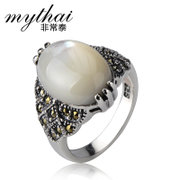 Thai Thai silver ring 925 Silver ladies retro stylish white cat''s eye ring ladies silver jewelry
