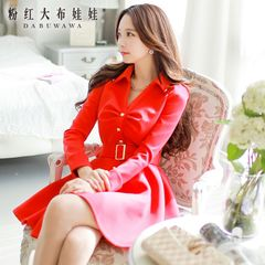 Long sleeve dress with pink dolls pre-2015 spring new tide women's temperament slim dresses women