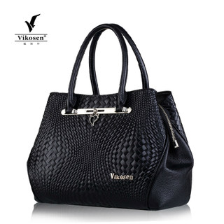 2015 new leather women bag tide girls fashion knitting pattern handbag suede leather BLK ladies bag