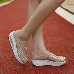 Microphone clicking soft gym shoes with thick-soled canvas shake shoes wedges platform women with increased leisure shoes