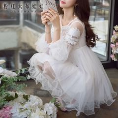 Lace dress big pink fluffy ladies and pre-2015 autumn doll dress long sleeve white dress autumn