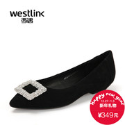 Westlink/West spring 2016 new low scrub Sheepskin pointed to shallow drilling side buckle women's shoes