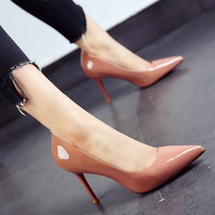 韩版糖果色女鞋2020春秋新款尖头鞋漆皮简约细跟高跟鞋单鞋女黑色