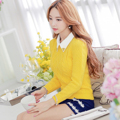 Big Pink dolls and new thick winter wind slim doll collar knit sweater long sleeve College female socket