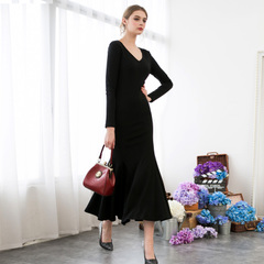Spring and autumn in Europe and America put a sexy v neck fishtail skirts, simple dresses, black dresses and elegant sueding cotton 9237