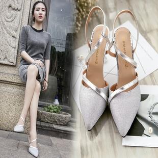 2018夏季新款高跟鞋细跟包头时尚女鞋浅口银色中跟单鞋一字扣凉鞋图片