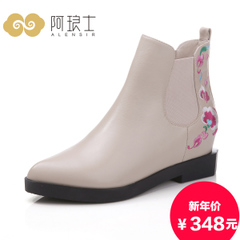 Alang's 2015 national wind in autumn and winter boots with embroidery leather chunky heels with biker boots boot women 260
