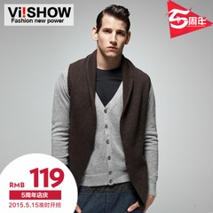 Viishow2015 knitted vest men's European and American trends large v neck knit vest sleeveless Cardigan men's lapels