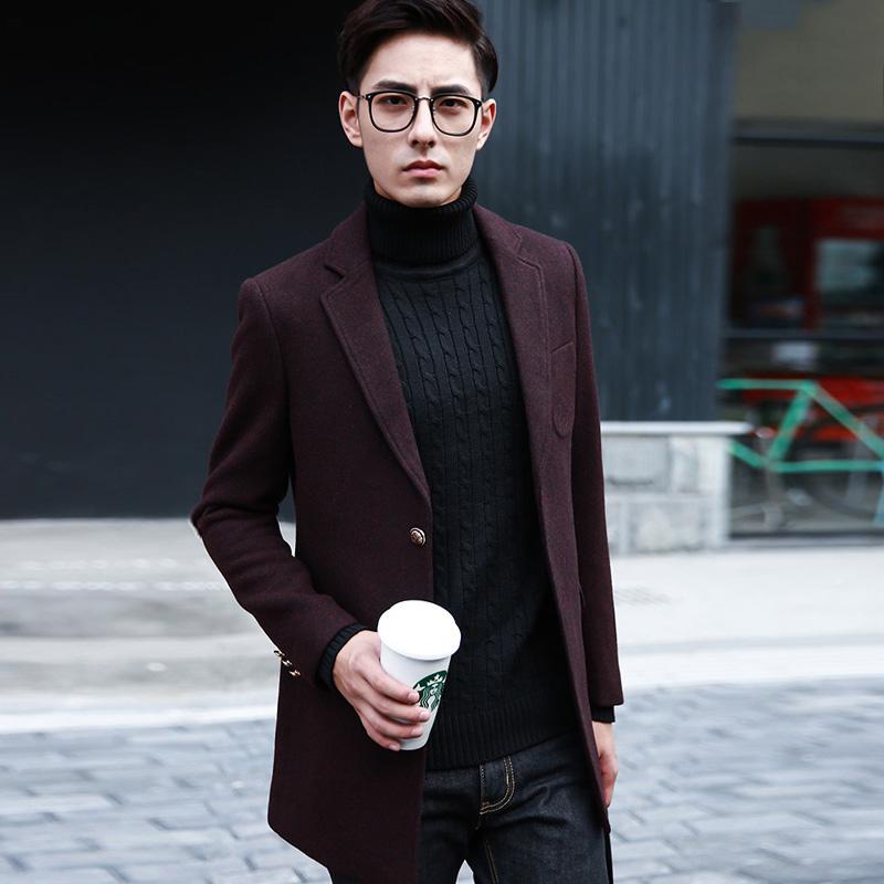 毛呢大衣男中长款酒红色呢大衣男中长款藏青羊毛呢大衣修身外套男