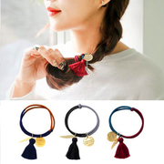 Know NI the Korean version of vintage small fresh leaves Liu Su Fa FA rope color hair band hair rubber band head jewelry