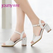 Zhuo Shini 2015 designer shoes summer Europe and coarse with a rhinestone-strap high heel sandal 152234510