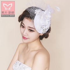 Beauty is just too retro elegant bride Hat rhinestone mesh Gauze Hat wedding tiara dress accessories B0756 gift box