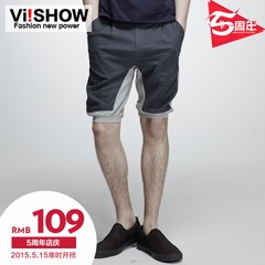 Viishow2015 summer dress new shorts men stitching color clash during the five-minute shorts pants shorts men