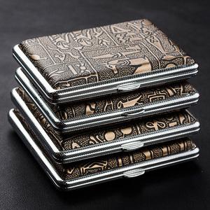 双枪烟盒正品 20支装古埃及 个性创意自动金属烟具 超薄男士烟夹