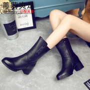 Tilly 2015 fall/winter trends high rough with cool foot fall in cowhide leather women's boots cashmere MOM boots