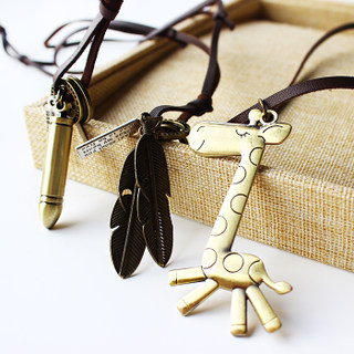 Vintage art leather rope lock keys abacus glasses cross necklace pendant pendant long necklace