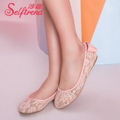 Fun fall 2015 involved new sweet lace bow at the heel shoes flat, shallow round head shoe W51003