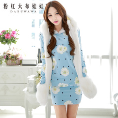 Long sweater pink doll spring 2015 new women's plus printed jacket hooded sweater