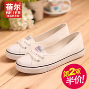 Becky's summer light canvas shoes women's the lazy man shoes low cut lace flat-bottom shoes shoes casual air mail