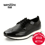 Westlink/West fall 2015 new tide sport carved leather stitching lace casual shoes men's shoes
