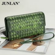 Chun LAN genuine leather braided 2015 new wave European fashion Sheepskin Lady wallet large zip around wallet women wallet