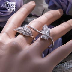 Meitai silver rhinestone ring Han Shi leaves bride Lady joint finger ring gift box I0045