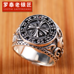 Vintage Thai Obsidian aggressive index finger ring 925 Silver men''s rings silver jewelry cross flower ring