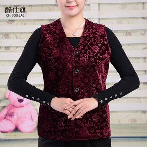 New middle-aged and elderly women's vests spring and autumn loaded grandma thin section of the vest elderly mother loaded vest jacket