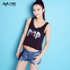 Seven space space OTHERMIX letter sequins short collage navel-baring strap vest women