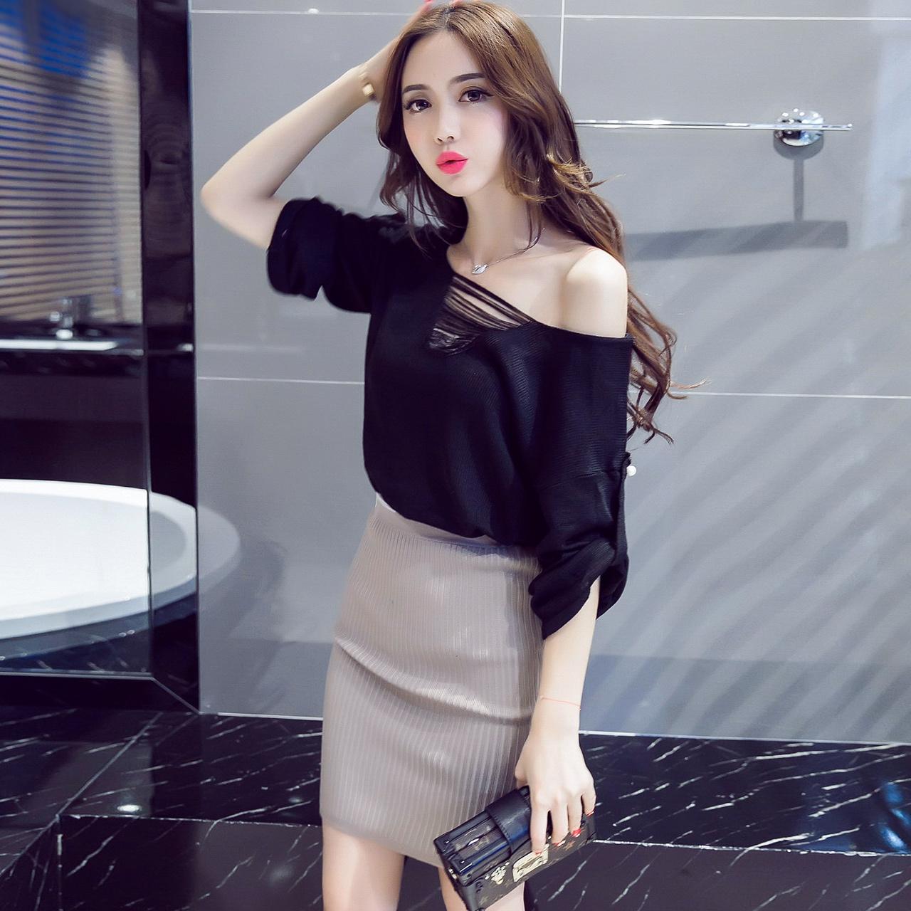 套装女春装时尚潮2017新款韩版性感名媛气质显瘦秋装针织裙两件套