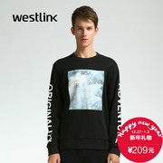 Westlink/West new wave black and white letters printed in 2015 winter cotton long sleeve turtleneck men sweater