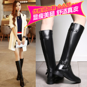2015 new winter boots leather boots over the knee boots boots flat casual boots flat heel tall boots round head female
