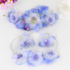 Jiang bridal tiara sets of Korean style three piece wedding jewelry necklace flower fairy tiara flower hair accessories