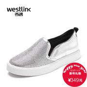 Westlink/West spring 2016 new leather drill flat bottom a pedal foot Lok Fu shoes women's shoes