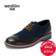 Westlink/West fall 2015 new Brock carved leather stitching lace business casual men's shoes