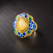 Very Thai gemstone ring 925 silver plated honey wax cloisonne temperament rings hollow products