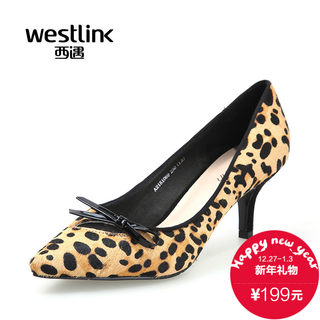 West-fall 2015 new graceful plovers mesh bow high heel Leopard print pointy light sets foot shoes