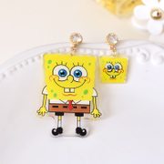 Compact ornament collectible SpongeBob duck cartoon earrings Crystal flowers Steven Aberdeen posts limited