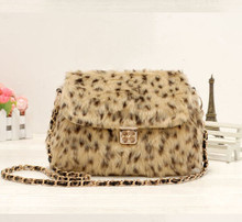 ZY - 6920 new fashionable retro splicing leopard leopard one shoulder aslant maomao bag chain female bag